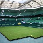 800 Quadratmeter Rasen im GERRY WEBER STADION ausgelegt