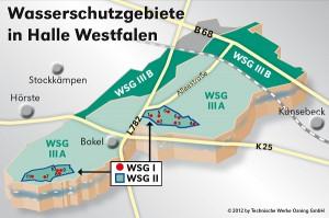 Überdecken weite Teile von Halle. Die Schutzgebiete der örtlichen Trinkwasserversorgung. Hier ist vieles verboten, anderes bedarf zuvor einer Genehmigung.
