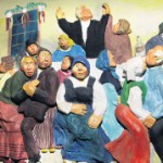 Polterabend in Pium: Große Verkaufsschlager Veronica Petersdorfs waren dreidimensionale Reliefbilder, die bäuerliches Leben im Ravensberger Land in leuchtenden Ölfarben widerspiegeln und auf denen die Szenen auf humorige Weise plastisch greifbar geschildert werden.