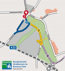 Gewerbegebiet Ravenna Park: Ab kommenden Montag werden die neuen Straßen im Industrie- und Gewerbegebiet Ravenna Park gebaut. Die Karte zeigt die Bauabschnitte, die von Nordwesten nach Südosten nacheinan-der entstehen. Ende Mai 2014 soll das 4,5 Mio. Euro teure Straßennetz befahrbar sein.
