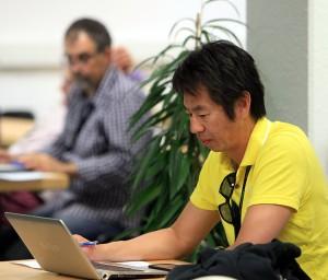 """Weltweites Medieninteresse bei den 21. GERRY WEBER OPEN 2013: Zahlreiche internationale Journalisten wie Kenshi Fukuhara vom japanischen TV-Sender """"WOWO TV"""" berichten in die ganze Welt. © GERRY WEBER OPEN (HalleWestfalen)"""